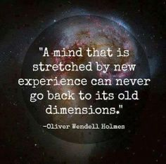 A mind stretched by a new experience can never go back to its old dementions OWH