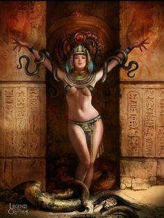 Naughty Halloween Art — snake_queen_duo_by_agnidevi Fantasy Art Women, Beautiful Fantasy Art, Dark Fantasy Art, Anime Fantasy, Fantasy Girl, Fantasy Artwork, Egyptian Art, Egyptian Goddess, Art Graphique