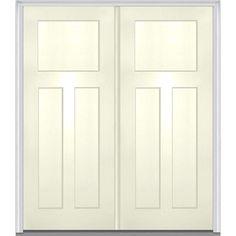 Milliken Millwork 72 in. x 80 in. 3-Panel Shaker Painted Fiberglass Smooth Double Prehung Front Door-Z015529L - The Home Depot