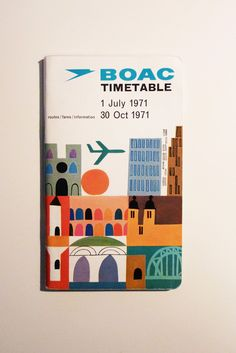 The cover illustration on this BOAC timetable is so beautiful. Grain Edit featured an ear. Vintage Graphic Design, Graphic Design Inspiration, Vintage Designs, Retro Design, Modern Design, Travel Illustration, Graphic Design Illustration, Graphic Art, Poster Design