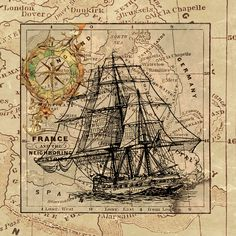 Vintage Sailing Ship and Old European Map Poster Antique World Map, Antique Maps, Vintage Nautical, Vintage Maps, Nautical Theme, Nautical Marine, Nautical Compass, Nautical Chart, Vintage Stuff