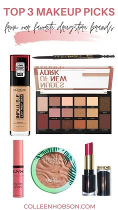 With so many amazing drugstore makeup products to choose from, here are our top 3 picks from our favorite drugstore beauty brands for you to try out. #bestdrugstoremakeup Best Drugstore Makeup, Best Makeup Products, Revlon, Loreal, Physicians Formula, Brows, The Creator, Artist, Beauty