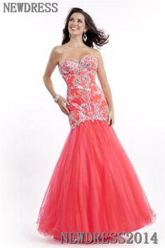salmon silver prom dress