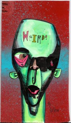 weirdo 2 anthead 6.5x12 recycled cardboard outsider graffiti art urban painting #OutsiderArt