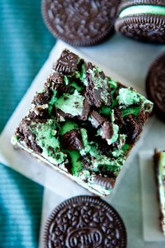 triple layer fudgey mint oreo brownie