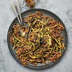 Meera Sodha's vegan recipe for sesame noodles with smacked courgette | The new vegan | Food | The Guardian Veggie Recipes, Asian Recipes, Vegetarian Recipes, Cooking Recipes, Veggie Dinners, Vegetarian Dinners, Vegetarian Cooking, Vegan Meals, Easy Dinners