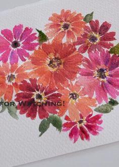 Watercolor Beginner, Watercolor Art Lessons, Watercolor Paintings For Beginners, Watercolor Techniques, Watercolor Cards, Floral Watercolor, Watercolor Painting Tutorials, Simple Flower Painting, Flower Art