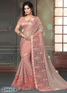 Eye Catching Pink Coloured Net Saree