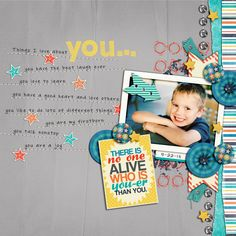 Things I Love About YOU! - Use stamps to replace some of the words in the journaling.