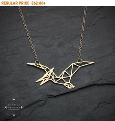 Pterodactyl Dinosaur Necklace dinosaur geometric necklace origami dragon necklace minimalist jewelry gift for women minimalist necklace, Origami Necklace, Hamsa Necklace, Geometric Necklace, Geometric Jewelry, Pendant Necklace, Origami Jewelry, Dragon Necklace, Bird Necklace, Dinosaurs