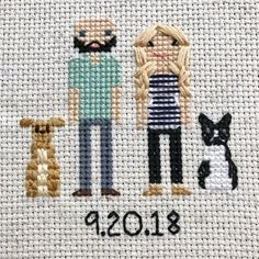 Anniversary Gift Cross Stitch Family Portrait Then and Now Cotton Anniversary Gift Wedding Couple Linen Anniversary Present for Her Gift for Second Anniversary Gift, Cotton Anniversary Gifts, Cross Stitch Family, Presents For Her, Dmc Floss, Sentimental Gifts, Gifts For Wife, Family Portraits, Cross Stitch Patterns