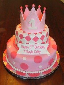 Girls custom fondant birthday cakes 225x300 Girls First Birthday Cakes