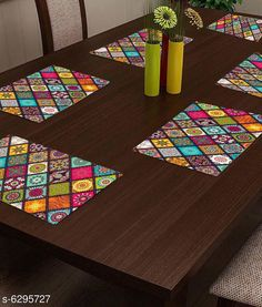 Table Runner Classy Dining Table Place Mats  Material: PVC Pack: Pack Of 6 Pattern: Printed length: 44 cm breadth: 29 cm height: 1 cm Country of Origin: India Sizes Available: Free Size   Catalog Rating: ★4.1 (2678)  Catalog Name: Classy Dining Table Place Mats CatalogID_999879 C129-SC1127 Code: 871-6295727-192
