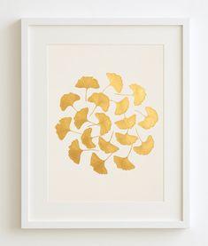 Gold handgemalte Original Gemälde von Ginkgo von SilkeSpingies