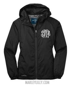 Monogrammed Black Eddie Bauer Rain Jacket. Want one so bad