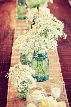 Summer Wedding Glitter Mason Jar, Burlap Table Runner and baby's breath table decor
