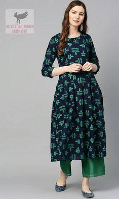 Kurta Women - Navy Blue & Green Printed A-Line Kurta - Indian Dress - Ethnic Wear - Kurtis For Women - Kurti Dress For Women Latest Kurti Design FASHION : IMAGES, GIF, ANIMATED GIF, WALLPAPER, STICKER FOR WHATSAPP & FACEBOOK #EDUCRATSWEB