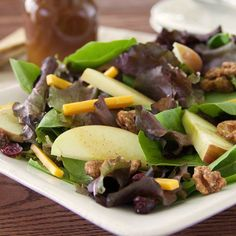 Mixed Green Salad with Apple Pie Vinaigrette...Toss mixed greens with apples, dried cranberries, cheddar cheese and glazed walnuts for a salad to serve when you're entertaining this fall and winter.