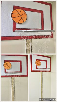 VBS 2018- Lifeway- Game On Decorations- Basketball goal made from styrofoam insulation purchased from Lowe's- painted and cut with a heat knife. Dollar tree hula hoop for the rim and dollar tree net for the net. $4