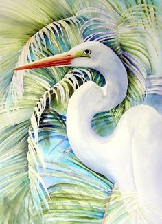2011 Virginia Watercolor Exhibition -- Kathleen Noffsinger watercolor painting Palms, Great Egret - wonderful collection of 79 watercolors! Watercolor Bird, Watercolor Animals, Watercolor Paintings, Watercolours, Illustration, Tropical Art, Wildlife Art, Beach Art, Animal Paintings