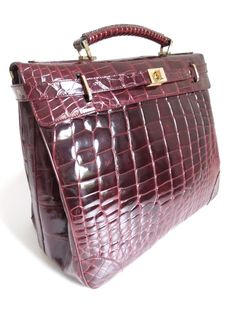 Handmade Crocodile Vintage Travel Bag Bordeaux - Made in Italy - 1978/83 - MarteModena