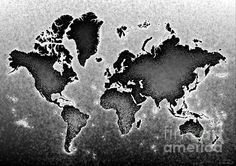World Map Novo In Black And White by elevencorners. World map wall print decor. #elevencorners #mapnovo