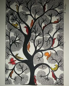 Madhubani Paintings Peacock, Madhubani Art, Worli Painting, Buddha Painting, African Art Paintings, Mandala Art Lesson, Zentangle, Indian Folk Art, Art Drawings Sketches