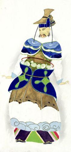 Umberto Brunelleschi (1879 -1949, Italy), 1926, Maschera (Ping), Costume Design for Turandot Opera by Giacomo Puccini, Teatro dell'Opera, Roma, Pencil, Tempera.