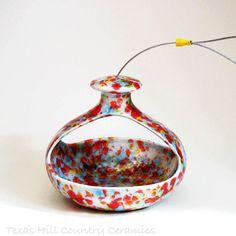 Colorful Ceramic Hanging Bird Feeder Retro Style by TexasCeramics