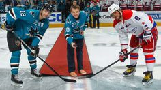 Evgeni Nabokov drops the puck in honor of his retirement with the San Jose Sharks on February 11, 2015
