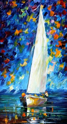 Sailboat art - White Sail — sail oil painting on canvas by Leonid Afremov. Sea artwork, ocean art, boat decor, tall painting, Size x Sailboat Art, Sailboat Painting, Nautical Art, Sailboats, Popular Paintings, Modern Impressionism, Oil Painting Reproductions, Oil Painting On Canvas, Painting Canvas