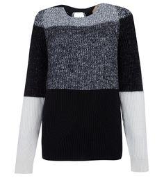 No. 21 Black and Grey Colour Block Rib Jumper | Knitwear | Liberty.co.uk