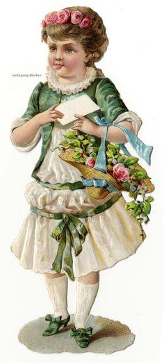 Vintage Victorian Die Cut Paper Scrap Girl w Flowers A Blank Letter C 1876 | eBay