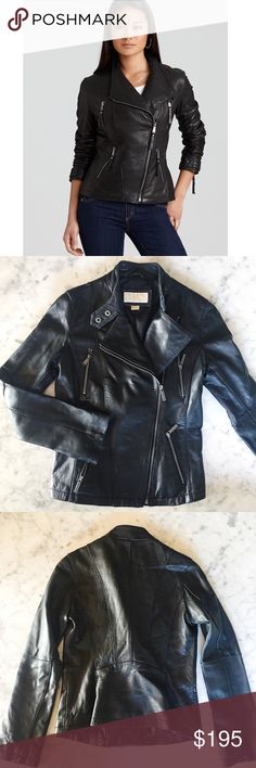 a Classic : the Leather Moto Jacket (Michael Kors) Genuine Michael Kors black leather motorcycle jacket.   No gauges or scratches on leather.  In Like New condition.  Pewter asymmetrical zip front and x4 pewter zipper pockets.  Back is sooooo flattering with the seaming that hugs into the small of your backs.  A classic. Michael Kors Jackets & Coats