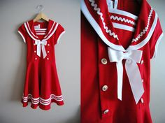 Ahoy Matey  Vintage 80s Red Sailor Dolly Dress by winstonvintage, $38.00