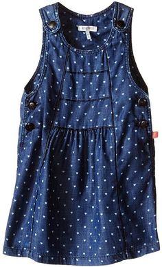 Ikks Chambray Denim Jumper Dress with Heart Print & Adjustable Straps (Infant/Toddler) Denim Jumper Dress, Chambray Dress, Heart Print, Infant Toddler, Her Style, Baby Dress, Hemline, Tops, Dresses