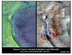 In the image at left, the lighter colors represent higher elevation in this image of Jezero Crater on Mars, the landing site for NASA's Mars 2020 mission, which is targeting a probable delta and lake shoreline. At right, color has been added to highlight minerals in this image of Jezero Crater on Mars. The green color represents minerals called carbonates, which are especially good at preserving fossilized life on Earth. Red represents olivine sand eroding out of carbonate-containing rocks. Green Colors, Light Colors, Mars Planet, Minerals, Nasa, Lighter, Landing, Highlight, Exploring