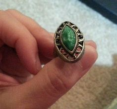 Vintage green jade looking deco silver tone adjustable ring, highly decorated.
