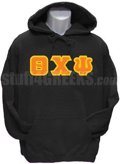 Black Theta Chi Psi pullover hoodie sweatshirt with the Greek letters across the chest