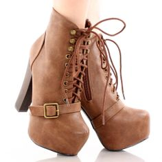 Tan Lace Up Designer Inspired Hidden Platform Chunky Heel Ankle Chunky High Heels, Platform Ankle Boots, Ankle Booties, Lace Up, Wedges, Booty, My Favorite Things, My Style, Inspired
