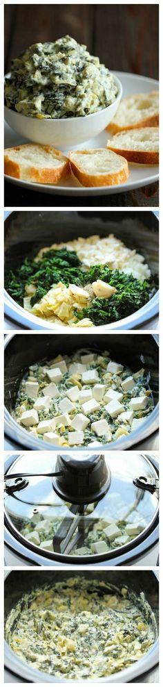 SLOW COOK spinach artichoke dip