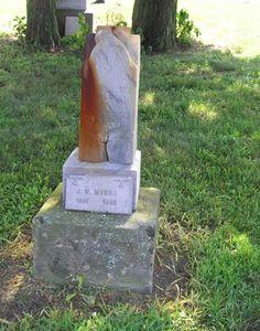 rust stained stone Sharples Cemetery Swanton, Ohio