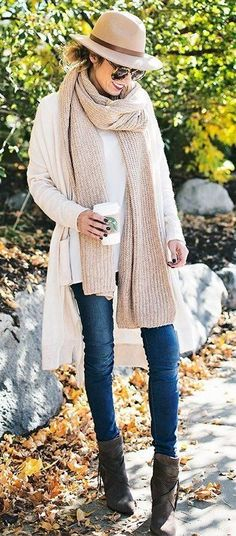 trendy fall outfit idea : hat + scarf + sweater + skinny jeans + boots