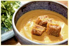 Helyn's Healthy Kitchen: Creamy. Vegan. Roasted. Butternut Squash Soup + Grilled Cheeze Croutons