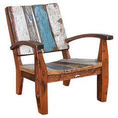 Perfect in a rustic loft or boho-chic garden retreat, this artful arm chair showcases a multicolor distressed motif for eye-catching appeal.