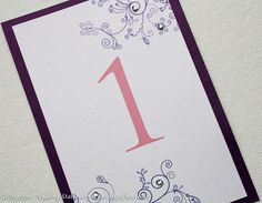 Cadburys Purple Swirls Table Numbers Vintage Wedding Stationery Scotland UK Wedding invitations designed with our love of polka dots textures lace and sparkle. We love vintage and modern themes. Purple Wedding Stationery, Modern Wedding Invitations, Wedding Invitation Design, Dot Texture, Table Numbers, Swirls, Vows, Wedding Stuff, Scotland