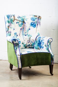 'Margot', charming chair, reupholstered in vintage Bird of Paradise from Sanderson, vintage olive velvet & just a hit of purple piping