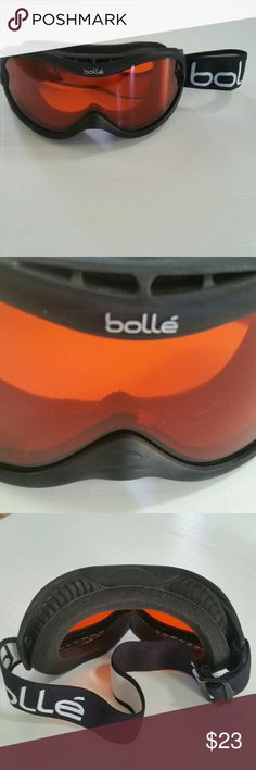BOLLE SKI GOGGLES BOLLE UNISEX SKI GOGGLES BLACK WITH FIRE ORANGE LENS, NON MIRRORED, ADJUSTABLE, BLACK AND WHITE STRAP. Bolle  Other