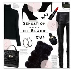 """""""BLACK BOMBSHELL"""" by jckallan ❤ liked on Polyvore featuring Vision, The Row, Moschino, Chloe Gosselin, Aspinal of London, Smashbox, Alexander McQueen and allblackoutfit"""