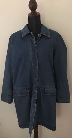 Denim & Co. QVC Womens Long Blue Denim Jean Jacket Coat Size Large (L)…